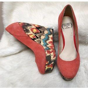 Very high wedge heels shoes orange